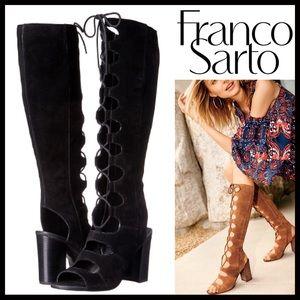 ❤️1-HOUR SALE❤️FRANCO SARTO TALL BLACK SUEDE BOOTS